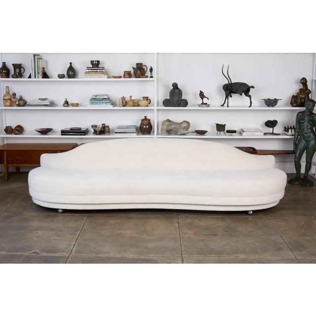 Mid-Century Modern California Modern Serpentine Alpaca Sofa For Sale - Image 3 of 9