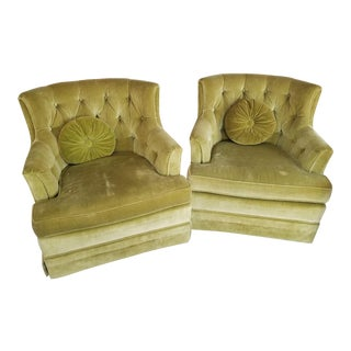 Mid-Century Swivel Tufted Back Barrel Chairs - A Pair