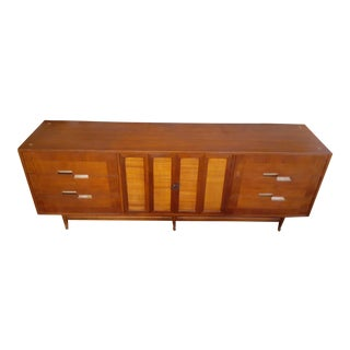 1960s American of Martinsville Walnut Accord 9 Drawer Dresser For Sale