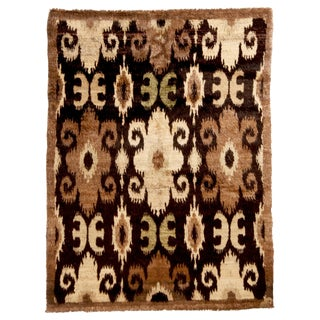 New Afghan Beige and Black Goat Hair Rug For Sale