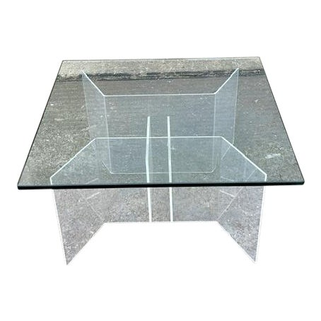 Mid-Century Modern Coffee Table With Lucite Geometric Base and Square Glass Top For Sale