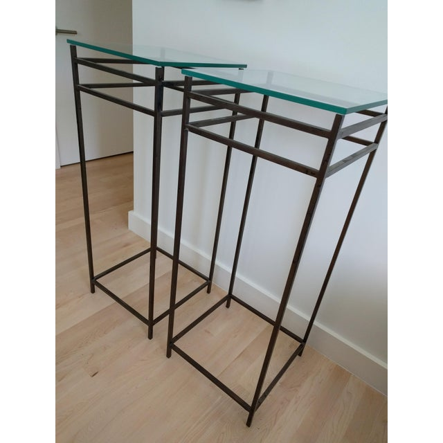 Modern Contemporary Tall Metal Plant Stands - a Pair For Sale - Image 12 of 12
