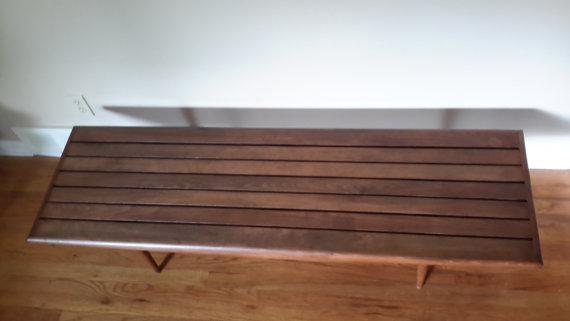 A Danish Style Mid Century Modern Wood Slatted Bench Or Coffee Table. Can  Be Used
