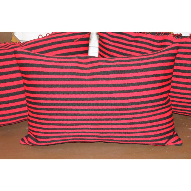 Group of Three Striped Navajo Indian Weaving Bolster Pillows For Sale - Image 4 of 5