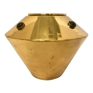 Midcentury Brass Vase With Green Stones