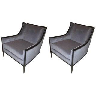 Pair of Mid-Century Modern Ebonized Armchairs For Sale