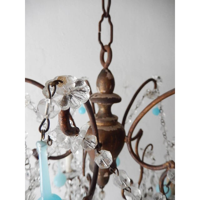 Baroque French Robins Egg Blue Opaline Beaded Chandelier, circa 1890 For Sale - Image 3 of 12