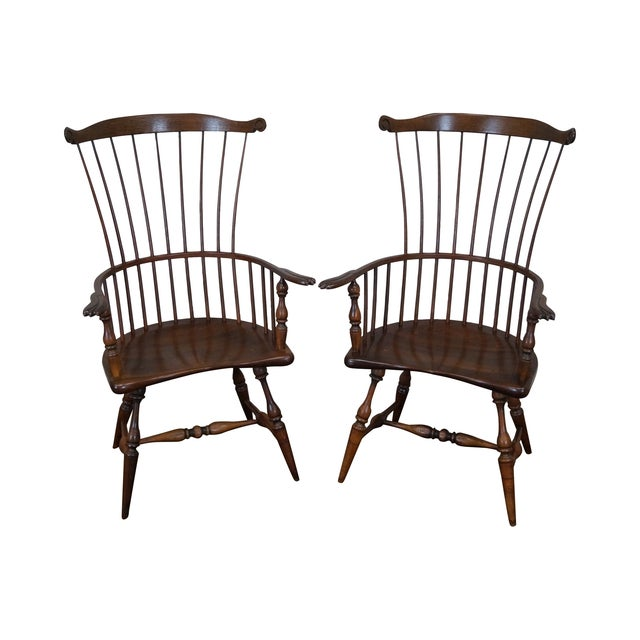 Custom Fan Back Windsor Arm Chairs - A Pair - Image 1 of 10