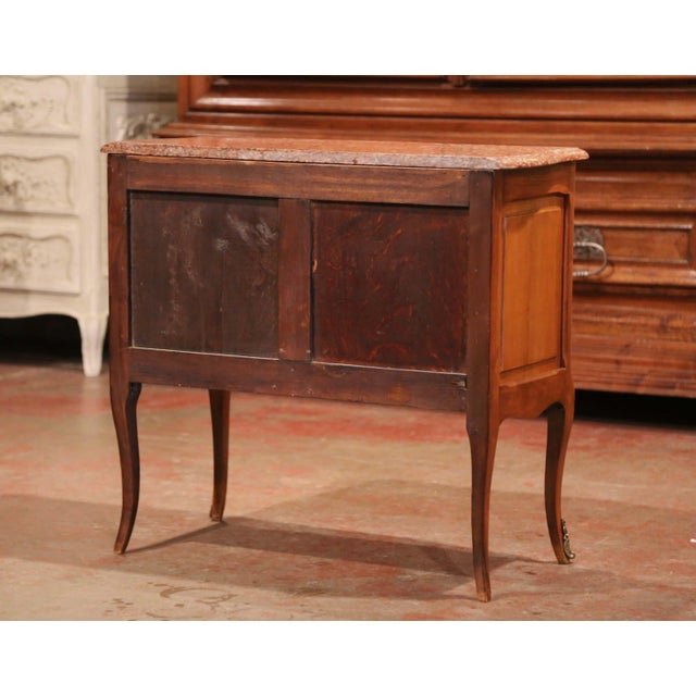 Brown French Carved Walnut Chest of Drawers With Red Marble Top For Sale - Image 8 of 9