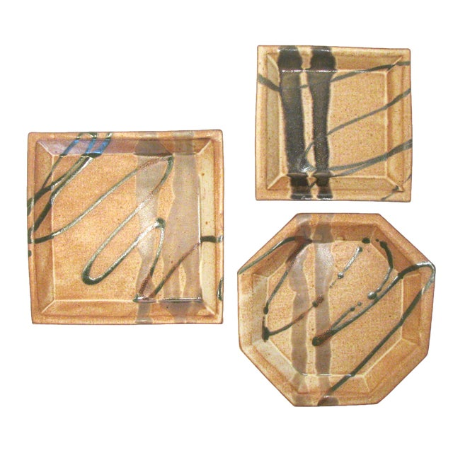 Abstract Bamboo Art Pottery, Signed, Set of 3 For Sale