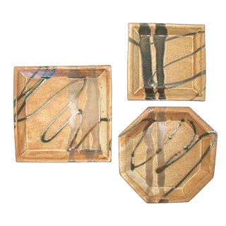 Abstract Bamboo Motif Art Pottery, Set of 3 For Sale