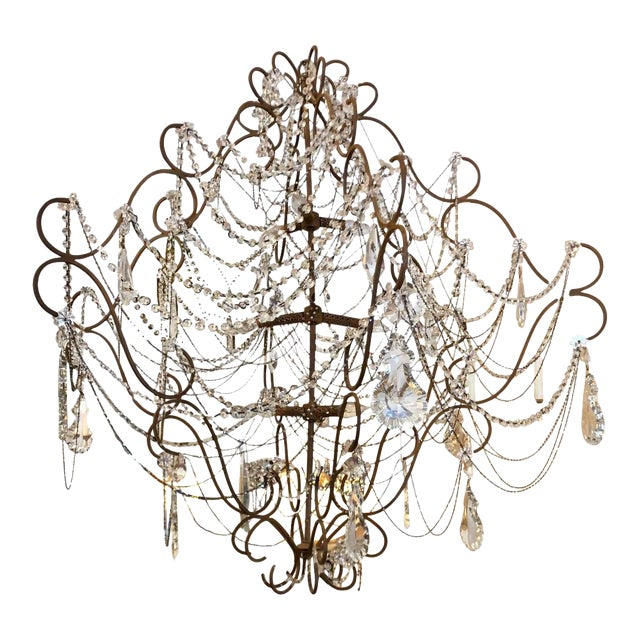 9 Light French Beaded & Crystal Chandelier For Sale