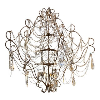 Monumental 9 Light French Beaded & Crystal Chandelier For Sale