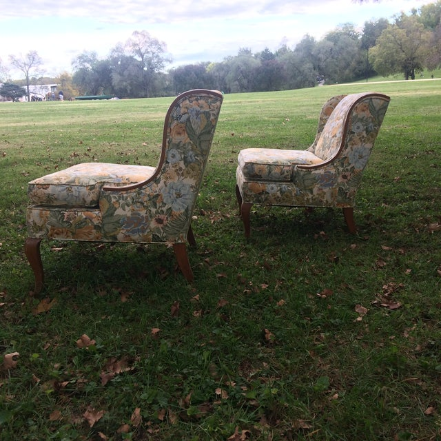 Vintage Winged Slipped Chairs in Floral - Pair - Image 7 of 9