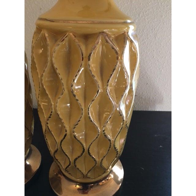 Yellow Mid Century Ceramic Lamps - Pair - Image 4 of 6