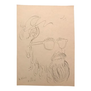1970s Vintage Portrait of a Bearded Man Drawing For Sale