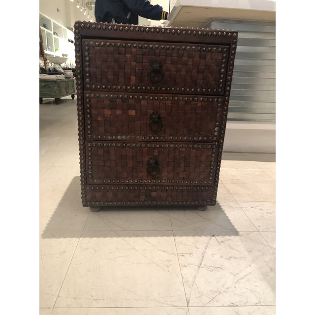Boho Chic Brown Weaved Leather Chest of Drawers For Sale - Image 4 of 7