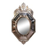 Image of Early 20th Century Italian Venetian Octagonal Mirror With Painted Floral Etching For Sale