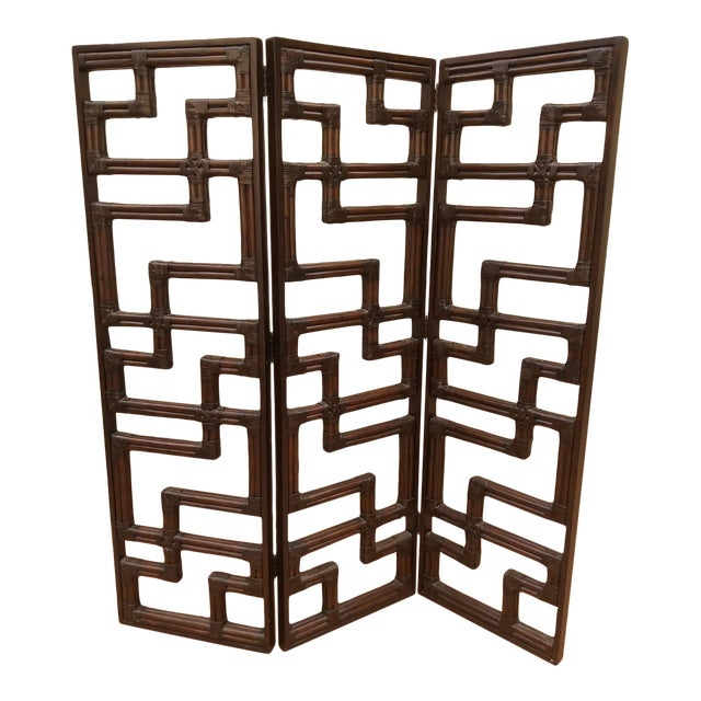 Bundled Reed Rattan Chinese Chippendale Room Divider For Sale