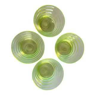 Vintage Vaseline Glass Bowl Set For Sale