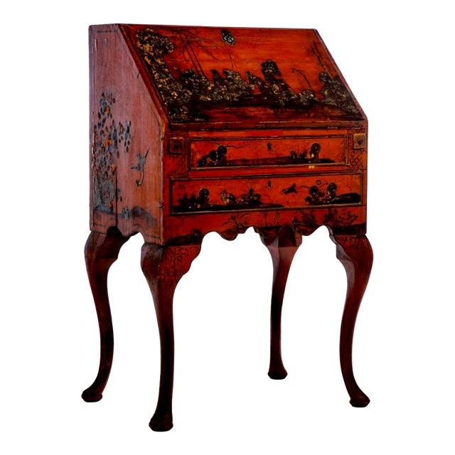 Late 18th Century Queen Anne Style Chinoiserie Secretary Desk For Sale