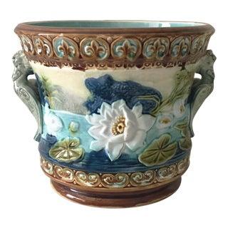Circa 1890 Majolica Water Lily Jardiniere