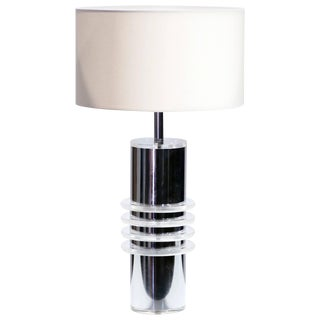 Chrome and Plexiglass Table Lamp, 1970s For Sale