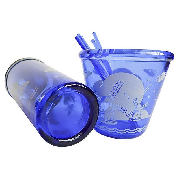 Vintage 1950s Blue Cocktail Shaker & Ice Bucket - Image 6 of 6