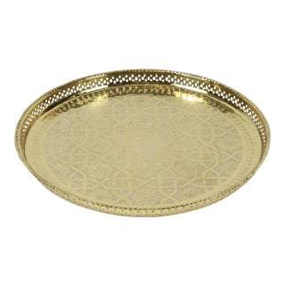 Moroccan Polished Round Brass Tray For Sale