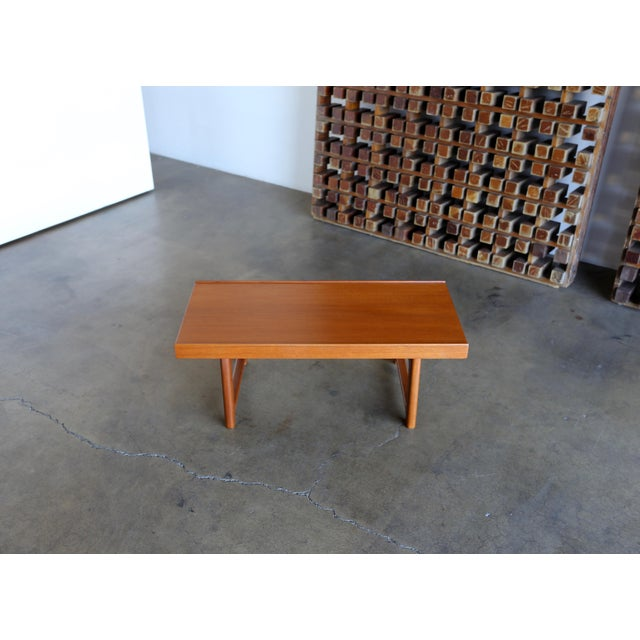 "Small teak ""Krobo"" bench by Torbjørn Afdal for Bruksbo made in Norway, 1960s."