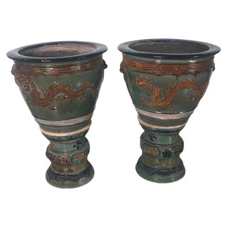 Chinese Glazed Terracotta Jardinieres Planters-A Pair For Sale