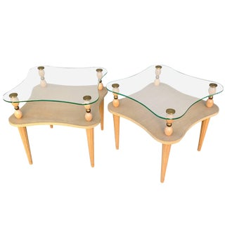 1940s Mid-Century Modern Gilbert Rohde Two-Tier Glass Top Tables - a Pair For Sale