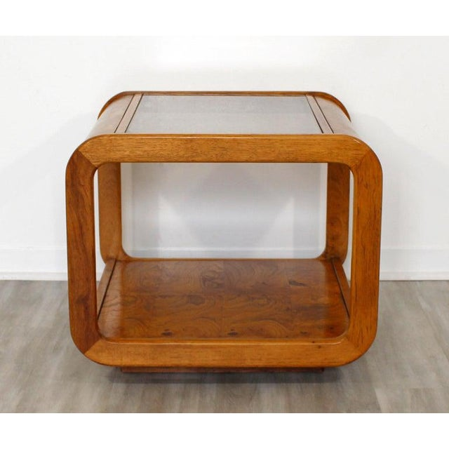 Wood Mid Century Modern Pair Burlwood Coffee & Side End Table 1970s For Sale - Image 7 of 13