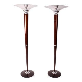Pair of Hungarian Art Deco Style Floor Lamps For Sale