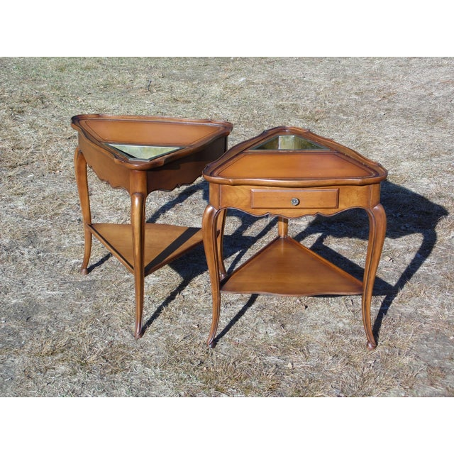 French Vintage French Style Leather Top Triangle End Tables - A Pair For Sale - Image 3 of 12