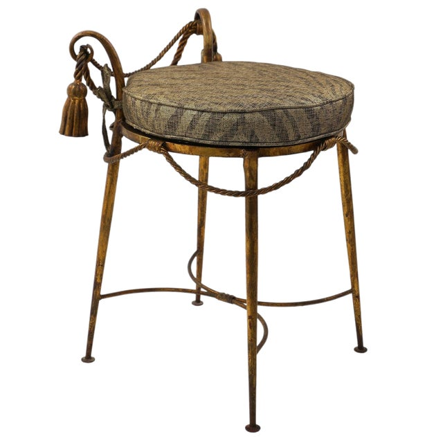 Hollywood-Regency Style, Italian Florentine Gilt-Metal Vanity Stool,1960s For Sale