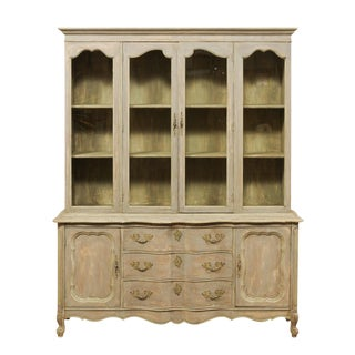 French Style Mid-20th Century Wood and Glass Display and Storage Cabinet For Sale