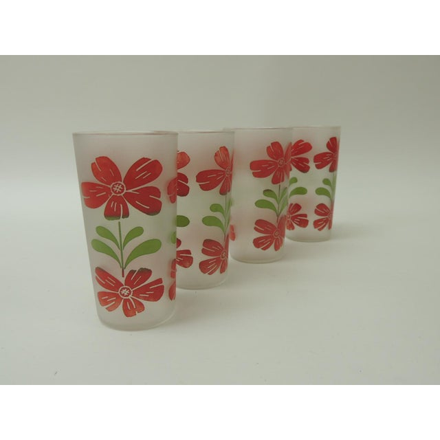 Vintage Festive Floral Hand Painted Set of Four Glasses With Floral Motifs For Sale - Image 4 of 5