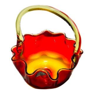 Blenko Amberina/Tangerine Basket MCM For Sale