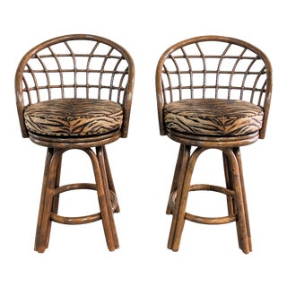 1980s Vintage Boho Chic Tiger Print Rattan Swivel Bar Stools- A Pair For Sale