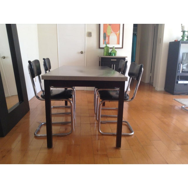 ZGallerie Metal Top Dining Table & Cantilever Chairs Dining Set - Image 6 of 8