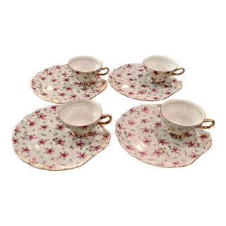 Vintage Hollywood Regency Napco Rose Chintz Teacup Trembleuse - Set of 4 For Sale
