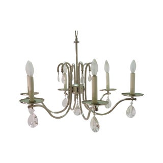 Modern Chrome Six-Light Chandelier For Sale