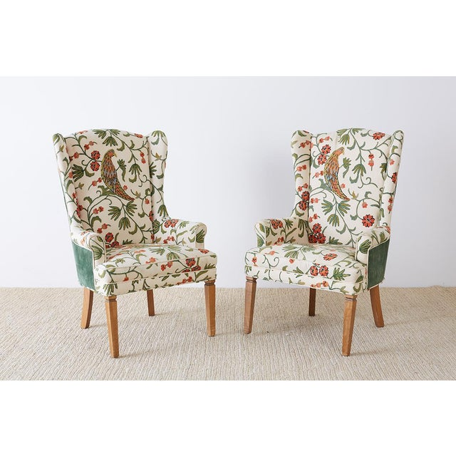 Blue Pair of English Style Crewel Work Wing Chairs For Sale - Image 8 of 13
