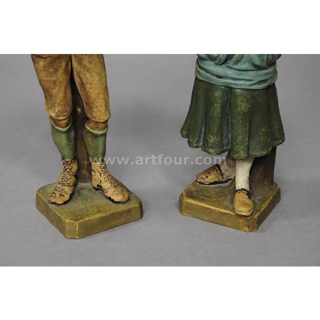 Decorative Folksy Couple Stoneware Figures For Sale - Image 9 of 10