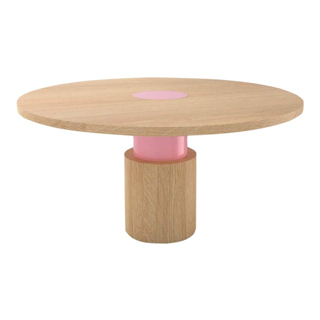Contemporary 100C Dining Table in Oak and Pink by Orphan Work, 2020 For Sale