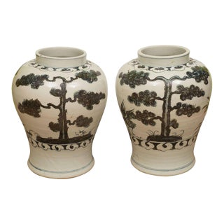 Pair of Black & White Chinese Export Jars