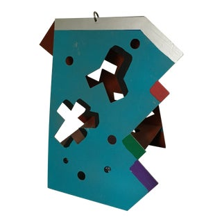 """1990s """"Puzzling"""" Signed Abstract Memphis Style Metal Sculpture For Sale"""