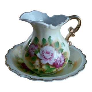 Vintage Hand Painted Gold Trim Pitcher with Under Plate / Base For Sale
