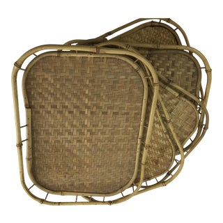 Bamboo Wicker Tiki Serving Trays - Set of 5 For Sale